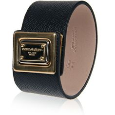 Dolce & Gabbana Black Leather Cuff Bracelet (470 CAD) ❤ liked on Polyvore featuring jewelry, bracelets, metal bracelet, bracelet jewelry, dolce&gabbana, polish jewelry and black bangles