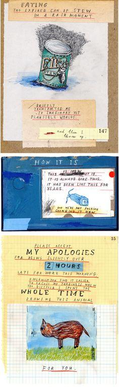 different artists illustrating David Sedaris. Great blend of weird journaling & typography