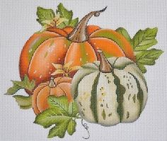 Easy Cross Stitch Patterns, Simple Cross Stitch, Cross Stitch Designs, Pumpkin Drawing, Pumpkin Art, Fall Crafts, Halloween Crafts, Thanksgiving Prints, Images Lindas