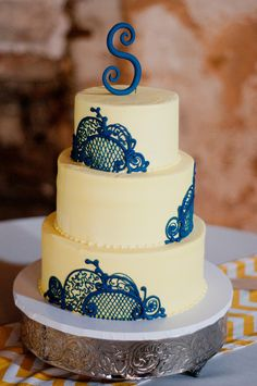 Our wedding cake- vintage simple yellow and navy