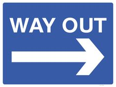 Avoid confused motorists on your site and potentially dangerous situations with this Way Out Sign with a right arrow to help avoid accidents and incidents. White text and arrow on a blue background.