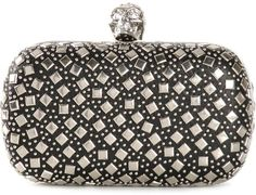 $2,495, Alexander McQueen Skull Box Clutch. Sold by farfetch.com. Click for more info: https://lookastic.com/women/shop_items/227604/redirect