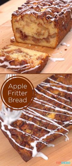 We love an apple fritter, and this apple fritter bread recipe does not disappoint. This cinnamon spiced apple bread can be enjoyed any time of day - breakfast, dessert, or a midday snack. And (Baking Bread Recipes) Dessert Bread, Dessert Recipes, Breakfast Recipes, Breakfast Dessert, Apple Breakfast, Donut Recipes, Pie Recipes, Sweet Recipes, Apple Fritter Bread