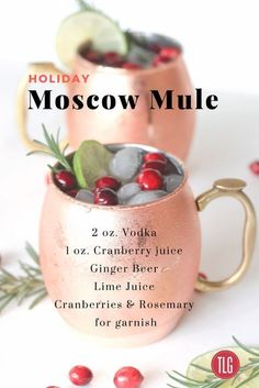 Moscow Mule Holiday Moscow Mule with Fresh Cranberries, Lime and Rosemary.Holiday Moscow Mule with Fresh Cranberries, Lime and Rosemary. Holiday Cocktails, Cocktail Drinks, Holiday Alcoholic Drinks, Christmas Drinks Alcohol, Thanksgiving Cocktails, Alcoholic Desserts, Fall Drinks Alcohol, Christmas Sangria, Christmas Cocktail Party
