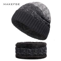 4c825f7317e57 2018 Winter Beanies Plus velvet Men Scarf Knitted Hat Caps Mask Gorras  Bonnet Warm Baggy Women