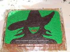 Homemade Elphaba from Wicked Cake: I made this Elphaba from Wicked Cake for my daughter's fifth birthday. I used a sheet cake, placed a wicked printout directly on the cake, poked small