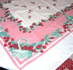 Vintage Strawberry Tablecloth $48