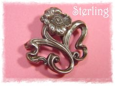 Art Nouveau Poppy Floral Swirl Sterling Silver Watch Pin Brooch ~ Early 1900s Unsigned Unger Bros - FREE SHIPPING