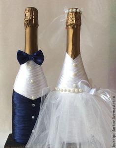 Свадебные аксессуары ручной работы. Ярмарка Мастеров - ручная работа. Купить Свадебное шампанское. Handmade. Разноцветный, свадьба, фужеры свадебные
