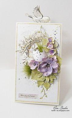 kartki okolicznościowe, zaproszenia, zaproszenia na ślub, handmade, rękodzieło artystyczne, greeting cards,scrapbooking, spellbinders, kwiaty,