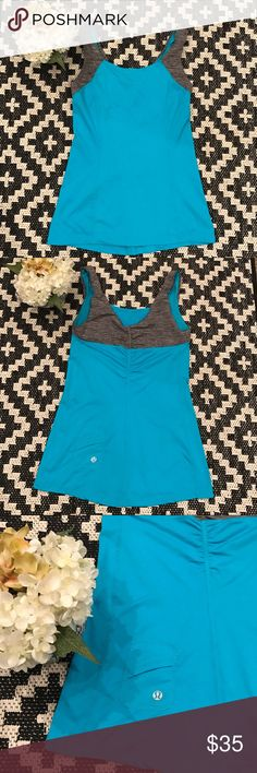 🦋Lululemon Tank Top🦋 Cute Lagoon Blue and Gray detail straps. In excellent condition. No Trades. Offers Welcome.😊 lululemon athletica Tops Tank Tops