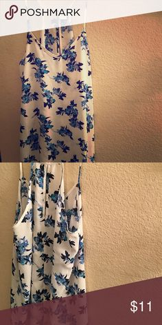 Size small blue & turquoise floral silk tank💙 Sized small, can also fit those who are typically sized medium! Perfect condition 💙 Tops Tank Tops