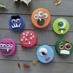Great plastic-lid-monsters. A craft idea from http://craftsbyamanda.com/2011/09/plastic-lid-monsters.html