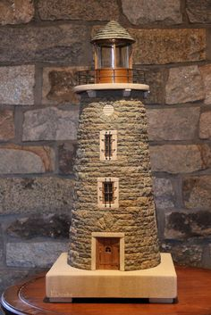 me ~ miniature stone lighthouses Garden Lighthouse, Clay Pot Lighthouse, Lighthouse Decor, Ocean Crafts, Beach Crafts, Home Crafts, Diy Crafts, Lighthouse Pictures, Ceramic Houses