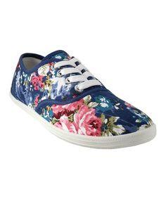 Blue & Pink Floral Sneaker #zulily #zulilyfinds