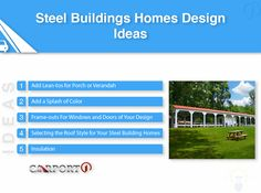 Steel Buildings Homes Design Ideas Metal Storage Buildings, Metal Garages, Steel Buildings, Metal Building Kits, Steel Building Homes, Building A House, Roof Styles, Built In Storage, Windows And Doors