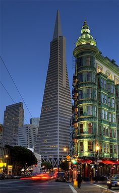 Columbus Tower in the foreground & TransAmerica Tower in the back. Ionic San Francisco architecture.