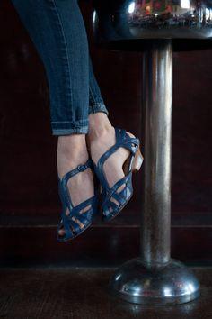Luna Kitten Heel Sandals in Navy