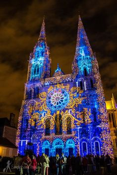 Chartres Cathedral at night, during Chartres en lumières 2014