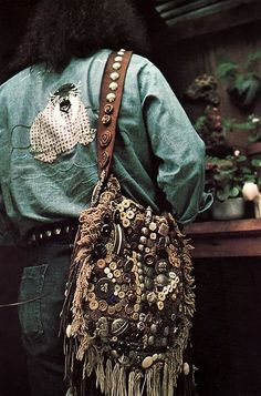 Cool Bohemian-style bag covered in buttons