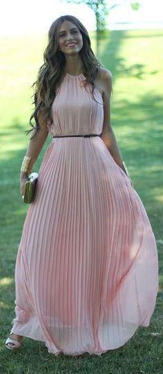 Pink Plain Draped Sleeveless Elegant Chiffon Maxi Dress