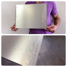 Custom photography portfolio book with surface engraving on brushed silver aluminum