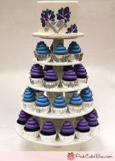 Purple and blue cupcake tower
