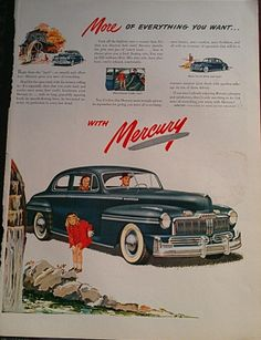 1950's  Mercury Car Advertisment Vintage Ads Car Ads by Inkart, $3.00