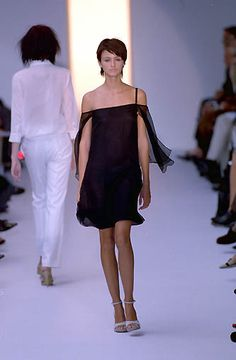 Strenesse | Spring 2000 Ready-to-Wear | 94 Black one shoulder mini dress