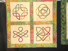 I love Celtic knot work. One of these days I would like to try making a Celtic quilt. This one looks like it might be a little easier to try. I like the colors and the simplicity of it.