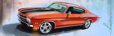 Chevrolet Chevelle SS 1971 / digigraphie sur toile tendue sur châssis bois / format : 120x40 cm / série de huit exemplaires, signés, numérotés avec certificat d'authenticité