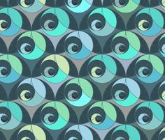 New Fabric designs. Phi Crescent Dark Bubble Blues fabric by elramsay on Spoonflower - custom fabric