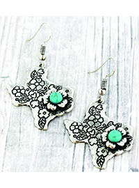 "Add western flair with this pair of Texas earrings with an amazing etched flower design!  2"" Fish Hook Style Earrings with 1.5"" Drop Burnished Silvertone Faux Turquoise Bead Flowers Etched Flower Design Lead Compliant"