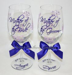 Mother of the Bride and Mother of the Groom Set of 2 Monogrammed Wine Glasses on Etsy, $24.00