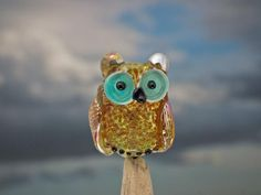 Freckles lampwork owl bead sra by DeniseAnnette on Etsy, $16.00