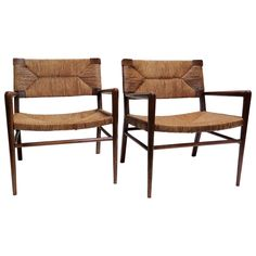 Pair of 1950s Mel Smilow Lounge Chairs with Rush  really like these