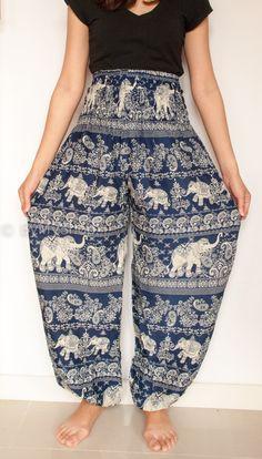 Harem Pants/Yoga Pants/Aladdin Pants/Boho Pants with Pockets/rayon print fabric/elastic waist  (Indigo Elephant)