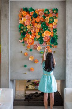 Floral wall, could make these - would be adorable for the bridal shower or bachelorette party --> i foresee fun pictures! :)