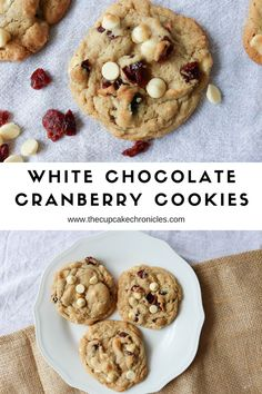 Cookies with white chocolate chips and cranberries! Click through for full recipe!