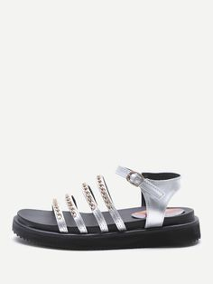 a5eef04aed64 Shop Chain Detail Strappy Flat Sandals online. SheIn offers Chain Detail  Strappy Flat Sandals