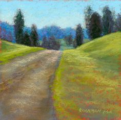 """Over The Hill"" - Original Fine Art for Sale - © Rita Kirkman Watercolor Landscape, Abstract Landscape, Landscape Paintings, Landscapes, Small Paintings, Pastel Paintings, Over The Hill, Encaustic Art, Photo Reference"
