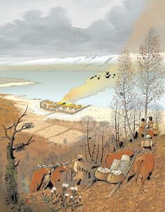 Neolithic people abandoning their village on Lake Geneva in search of better land by André Houot.