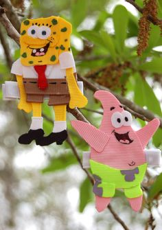 Sponge Bob and Patrick inspired hair clip Found on Facebook at Candyland Bowtique Bows and More