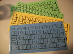 "Google ""Keyboard Template"" and print on colored paper, laminate and you've got Word Work for a day!-would be good for spelling practice before keyboarding is introduced to help kids become familiar with where the letters are"