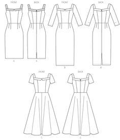 B5984 | Misses' Dress | Dresses | Butterick Patterns.  Short of 3/4 sleeves, full skirt.