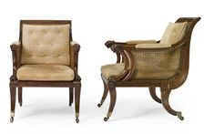 A fine pair of Regency mahogany caned bergères in the manner of George Smith<br>circa 1810 | lot | Sotheby's