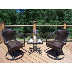 Oakland Living Corporation Sedona Outdoor Coffee Wicker 3-piece Rocker and Side Table Set (Coffee), Black, Patio Furniture