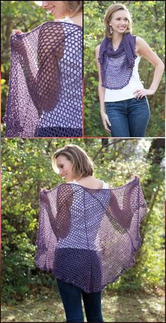 Easy Crochet Refracted Lace Shawl - 100 Free Crochet Shawl Patterns - Free Crochet Patterns - DIY & Crafts
