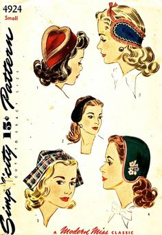 Simplicity Pattern 4924 Vintage 40's - 'A Modern Miss Classic' - Four Styles of Hats + Embroidery Transfer - Uncut - Size Small