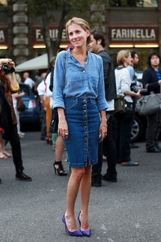Street Style Spotligt: 24 Ways To Wear A Denim Pencil Skirt